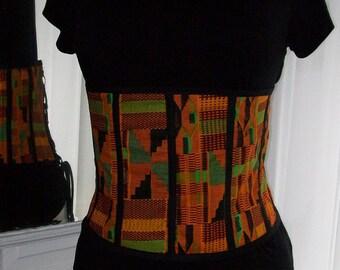 Custom African Kente Print Lace Up Corset Belt
