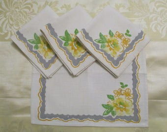 Four Vintage Yellow & Gray Floral Print Cotton Tea Luncheon Napkins