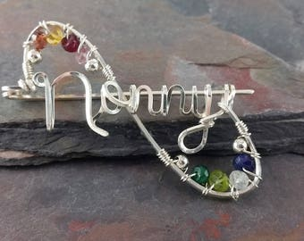 Sterling Silver Family Brooch - Pin - Personalized with up to 12 genuine birthstones.