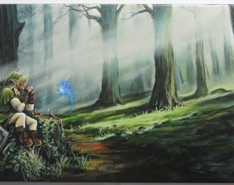 15x30 Video Game Art, Legend of Zelda Limited Ed. PRINT on Canvas by J. Mandrick