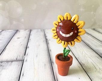 Joyful Sunflower Figurine - OOAK