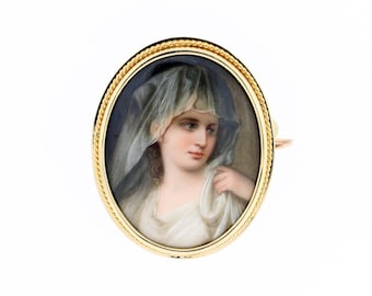 14K Gold Brooch with Veiled Female Portrait