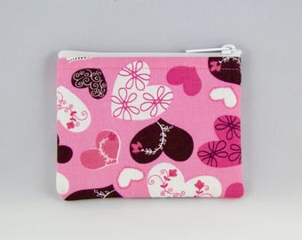Pink Hearts Coin Purse - Coin Bag - Pouch - Accessory - Gift Card Holder