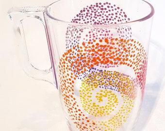 Glass hand painted 40cl mug