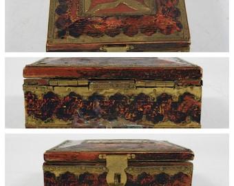 Vng Tribel Ethnic Antique Trinket Box / Vmg Hand Crafted Ooak Brass & Exotic Wood Trinket Box / Custom  Wooden Jewelry Box / Vng Brass Box