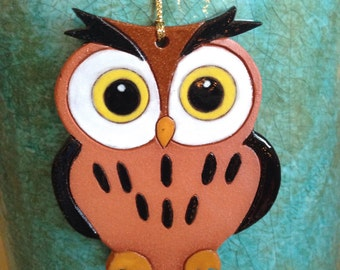 owl ornament owl Christmas ornament chi omega ornament chi omega owl stoneware ornament handcrafted owl ornament owl Christmas ornament