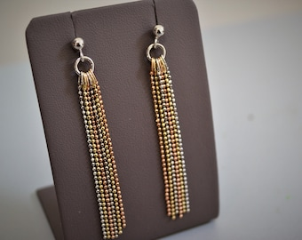 Earrings with dangling balls tri-color Silver 925/000