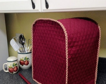Primitives Burgundy Coffee Maker Cover Quilted Fabric Small Appliance Cover Sewn and Ready To Ship