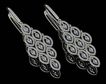 14K White Gold Earring with White Diamonds M-ER1012