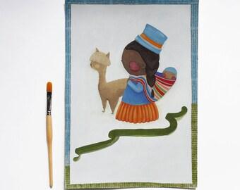 Perù, Illustrazione, OOAK, 25x36 cm