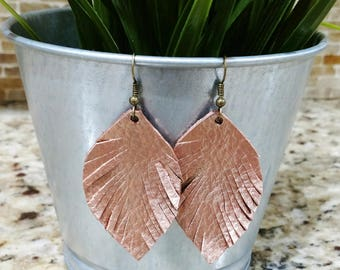 Metallic Rose Gold, rosegold, leather feather earrings