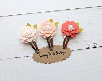 Felt Flower Clips,Toddler Hair Clips,Girls Hair Clips,Snap Clips for Baby Toddler Girls,Hair Clip Set,Peach Coral,M2M Matilda Jane