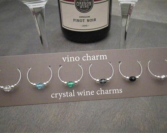 6 crystal wine charms | gift box | silver wine glass charms - bulk wine gift - drink charms - spirits sipper gift - wine holiday gift SPC6-2
