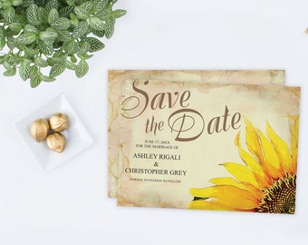diy save the date ms word template editable text rustic sunflower printable