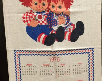 1975 Calendar Kitchen Towel, Linen, Raggedy Ann and Andy