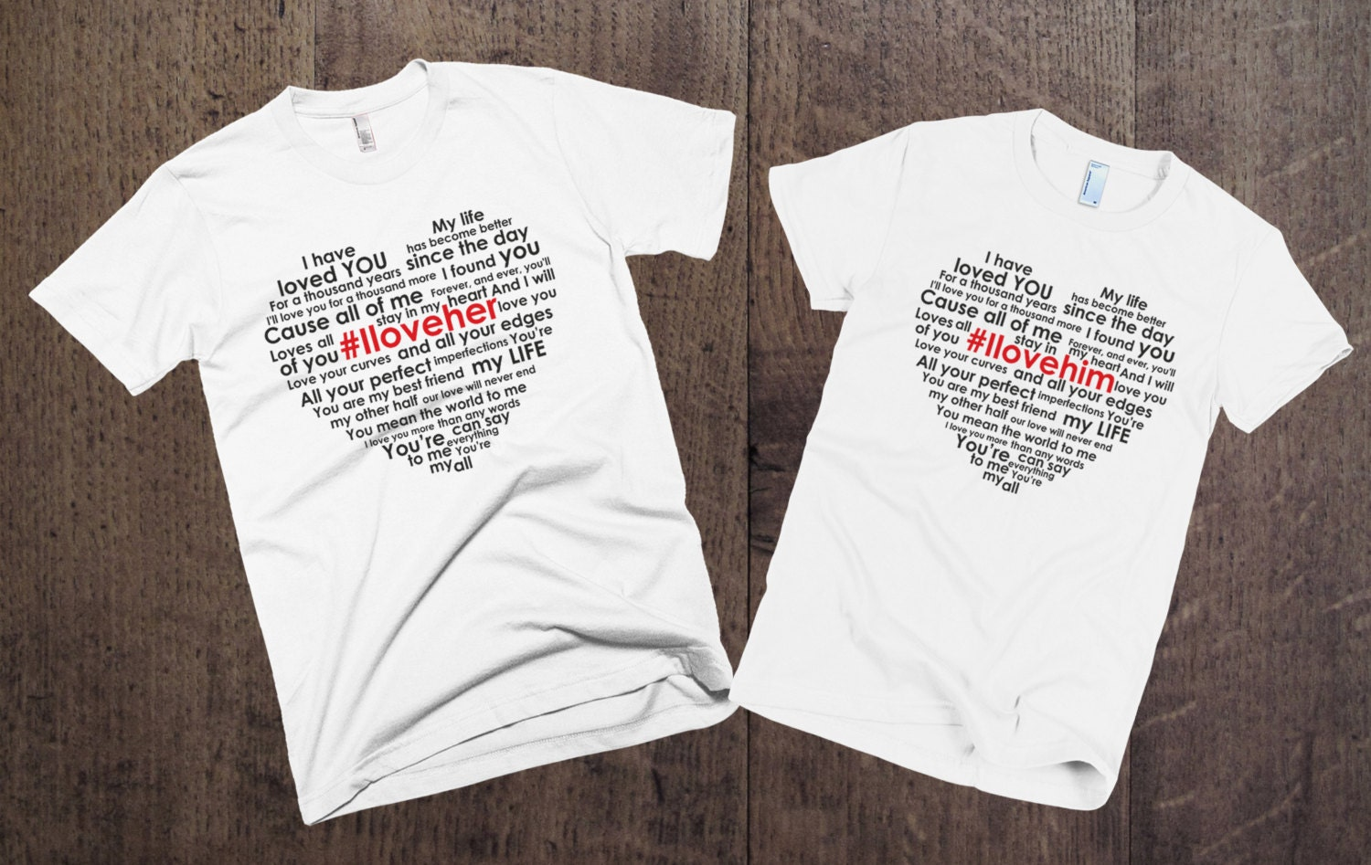Love Quotes Clothing Couple Tshirts Set I Love Her I Love Him Couples
