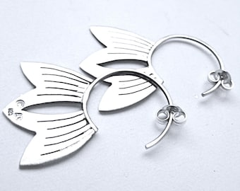 Sterling Silver Lotus Petal Earrings