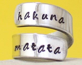 Hakuna Matata Ring - Adjustable Wrapped Ring.. Silver Ring.. Hand stamped ring.. Personalized..