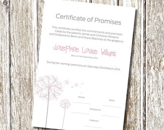 Naming day etsy dandelion naming day certificate printable and personalised yadclub Images