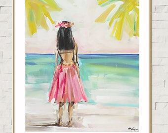 Hula Girl PRINT, print of original painting, devinepaintings, Hawaiian art