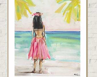 Hula Girl PRINT, print of original painting, devinepaintings, Hawaiian art