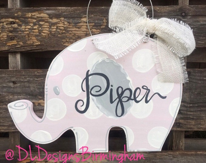 Elephant Hospital door hanger or nursery for baby girl in baby pink and white