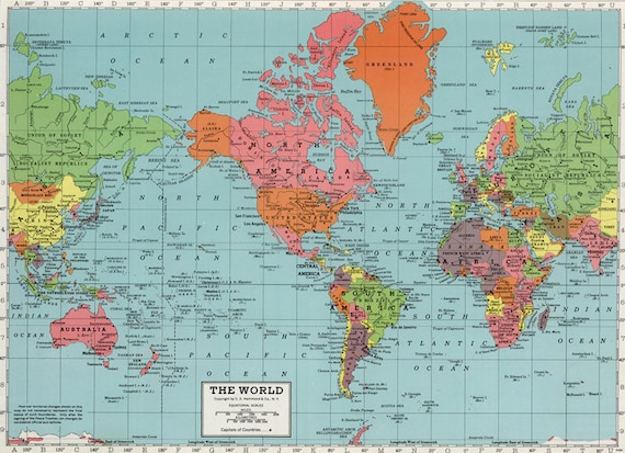 World map printable digital downloadntage world map gumiabroncs Choice Image