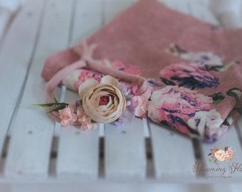RTS Floral wrap and tieback set, Newborn Floral Photo prop set, Newborn Photo Prop, Floral wrap, Newborn tieback.