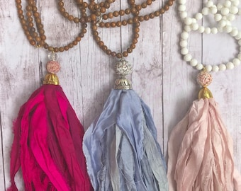 NEW LISTING! Sari Silk Long Tassel Necklaces. Hot Pink. Denim Light Blue. Light Pink. Fabric tassel. Boho. Sari silk tassels.