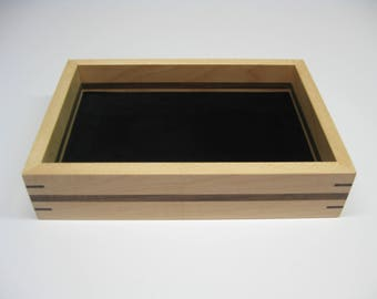 Wood Valet Tray, Valet Box made from Maple with Black Walnut splines and stripe  #210