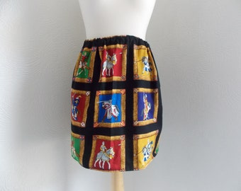 cute and quirky medieval knight handmade skirt one size