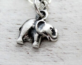Elephant Necklace, Elephant Lovers Gift, Baby Elephant Necklace, Sterling Silver Tiny Elephant Necklace, Elephant Jewelry, Little Elephant