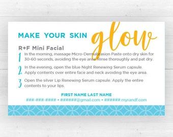 Rodan and Fields Mini Facial Cards   Customized Printable