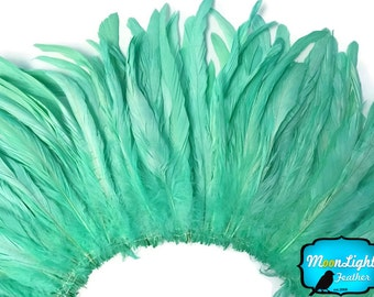 Long Feathers, 2.5  Inch Strip -  MINT GREEN Strung Natural Bleach Coque Tails Feathers, 8 - 10 inches : 3952