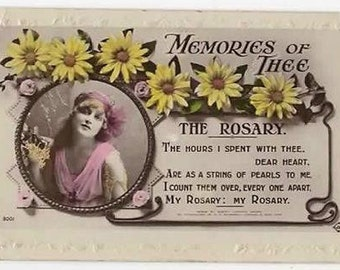 Vintage Real Photo Postcard,GLAMOUROUS Woman,Memories of Thee, DAISIES,Valentines Series, 1919