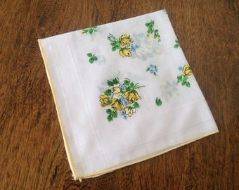 Vintage hankie with yellow and blue flowers
