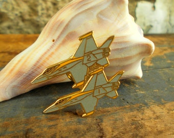 US Military Fighter Jets Label Pen - Gray And Gold Fighter Jets - Pilot Gift Tie Tack Air Show - Prissys Newberry Antiques