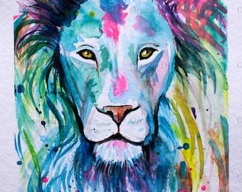 Lion watercolor portrait original  artwork