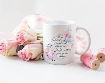 She Is Clothed With Strength Mug / Rainbow Unicorn Mug / Unicorn Mug / Quote Mug / Christian Gift / Inspirational Quote Mug / Proverbs 31 25