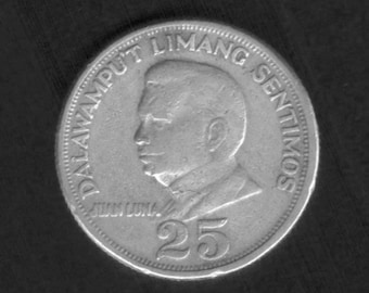 Coin Philippines 25 centavos 1971 with Juan Luna - vintage collectible coin