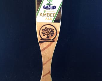 Tap Handle for Oakshire Brewing Amber Ale  10 1/4 Inch Wood   01550