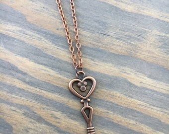 Heart Shaped Copper Key Necklace