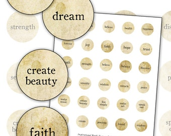 Inspirational Words No. 1 digital collage sheet 1 inch rounds circle sepia natural 25.4mm