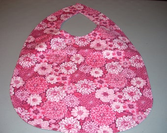 Pink Flowers on Pink Adult Size Bib / Clothing Protector - Reversible
