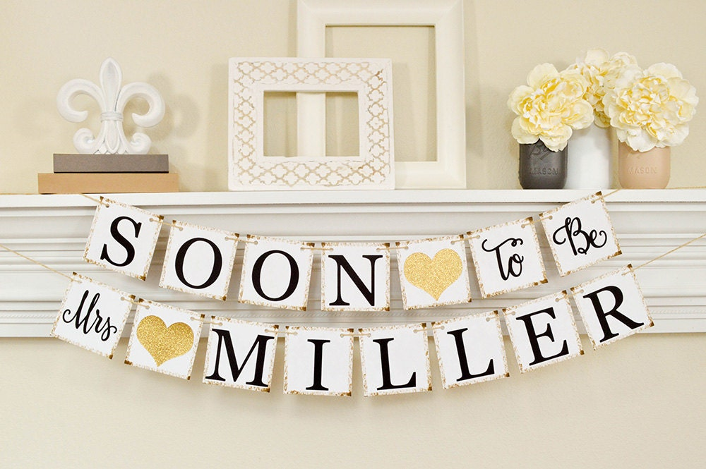Completely new Soon To Be Mrs Banner Bridal Shower Decorations Bridal FK63