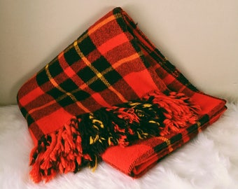 Red Plaid Throw Blanket, Faribo Fluff Loomed, Camp Blanket, Made in Minnesota