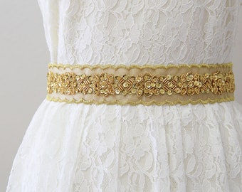 Gold Sequined Champagne Ribbon Sash, Bridal Champagne Sash, Bridesmaid Gold Sash, Flower Girl Sash Belt