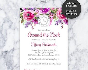 Around the clock etsy pink around the clock bridal shower invitation instant download editable pdf do it filmwisefo Images