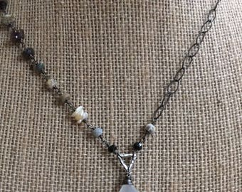 Rustic asymmetrical artisan statement necklace blackened sterling