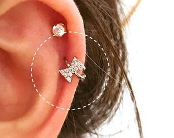 CZ Ribbon cartilage hoop, silver cartilage hoop, Tragus piercing ring, tragus earring, hoop ring, simple hoops, endless hoop, circle tragus